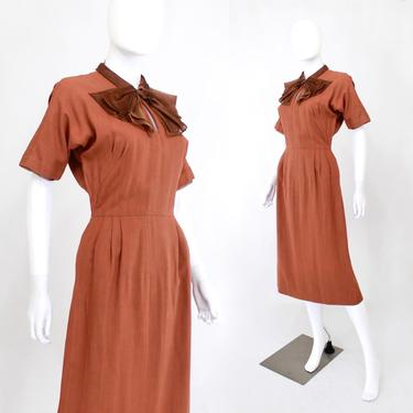 1950s Terra Cotta Wiggle Dress with Large Brown Bow - 1950s Wiggle Dress - Vintage Orange Wiggle Dress - 50s Secretary Dress | Size Small by VeraciousVintageCo