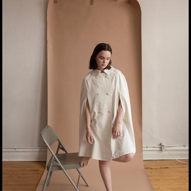 es-cape ade   vintage 1960s cotton twill cape coat   vtg 60s cloak jacket   khaki   osfm by danevintage