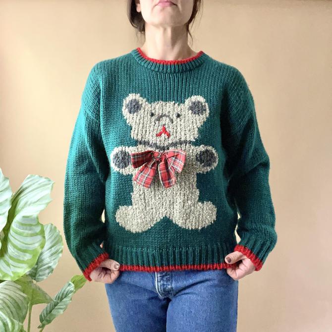 Vintage Green Teddy Bear Sweater, Size Medium by Northforkvintageshop