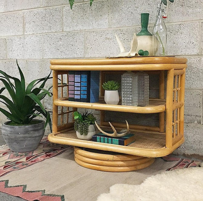 LOCAL PICKUP ONLY ------------------ Vintage Rattan Console by RetrospectVintage215