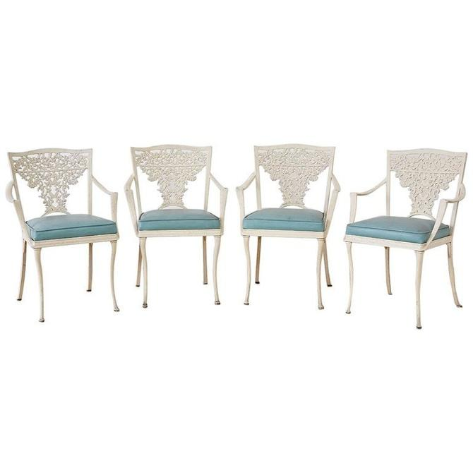 Set of Four French Aluminum Floral Garden Patio Chairs by ErinLaneEstate