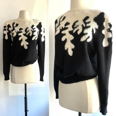Cozy 80's Vintage ANGORA + PEARL Sweater / Puff Sleeves + Slouchy by CharmVintageBoutique