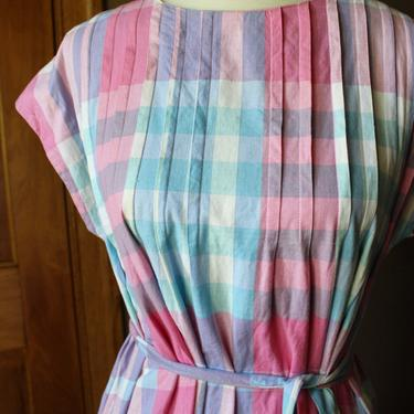 80's Cotton Matti Sport Pastel Pink Pleated Dress with Pockets by Ferngodvintage
