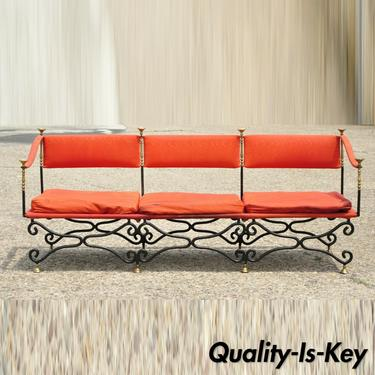 Vintage Italian Regency Savonarola Curule Wrought Iron Brass Finial Throne Sofa