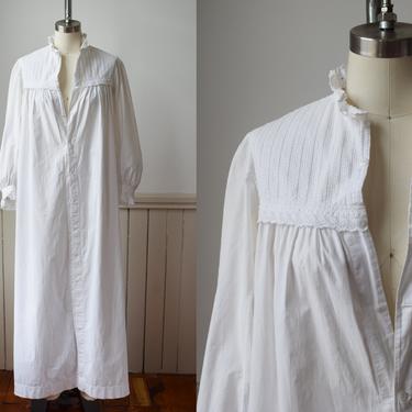 Antique Edwardian Nap Dress | c. 1900 White Cotton Maxi Dress | Tent Dress | Nightgown | S/M by wemcgee