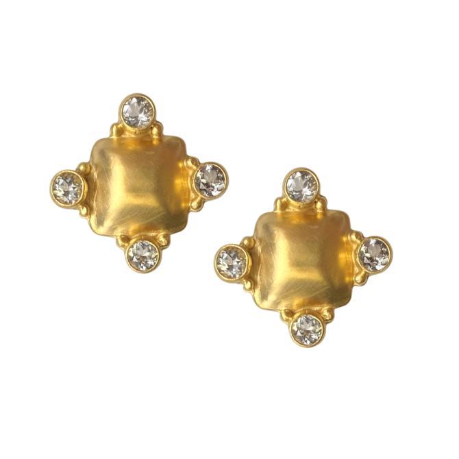 Gold Topaz Pillow Earring