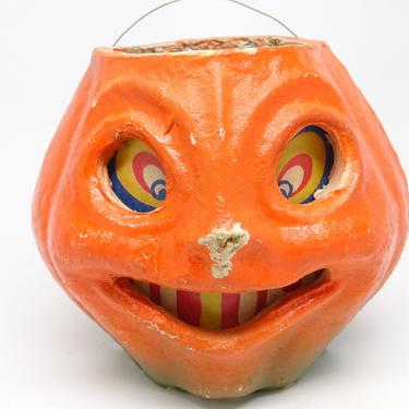 Vintage 1940's Halloween Smiling Jack-O-Lantern, made with Pulp Paper Mache, Antique Retro Decor by exploremag