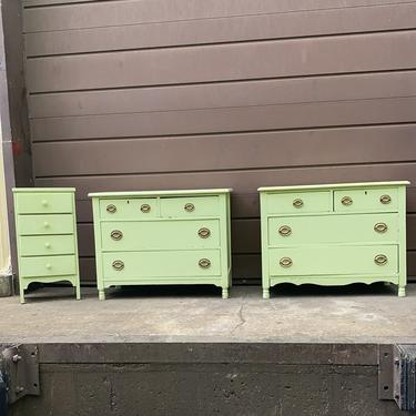 Mint green antique dresser with side table