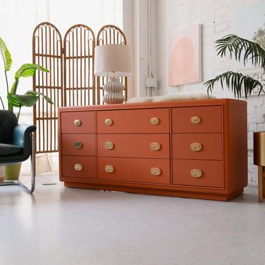 Burnt Orange 9-Drawer Regal Dresser by Stanley