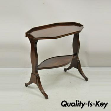Antique John Widdicomb Mahogany Sheraton Style 2 Tier Accent Side Lamp End Table