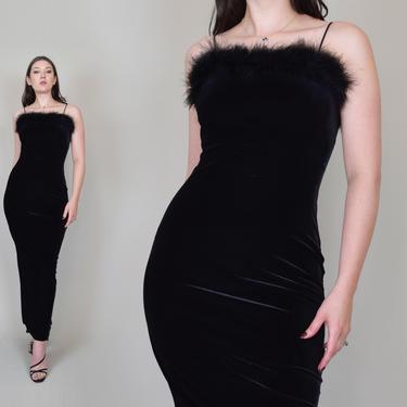 90's Black Velvet Slip Dress   90's Feather Slip Dress by WisdomVintage