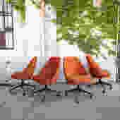 Orange Velvet Rolling Chairs