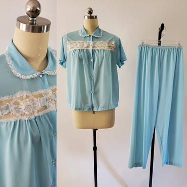 1960s ValMode Pajama Set with Top and Pants 60s Loungewear 60's Sleepwear Women's Vintage Size M/L by HeySailorNiceVintage