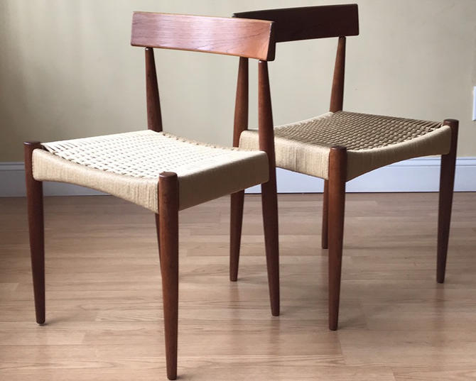 Two Danish Teak Dining Side Chairs in Teak and new Danish Paper Cord, Arne Hovmand Olsen for Mogens Kold by ASISisNOTgoodENOUGH