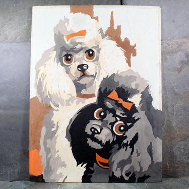 Vintage Paint by Numbers - Poodle Friends - 1960s Paint By Numbers Black & White Poodle Portrait| FREE SHIPPING by Bixley