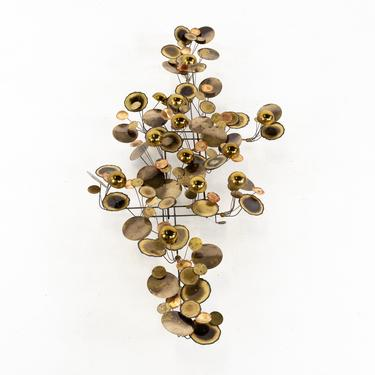 Curtis Jere Mid Century Brass and Chrome Raindrops Wall Sculpture - mcm by ModernHill