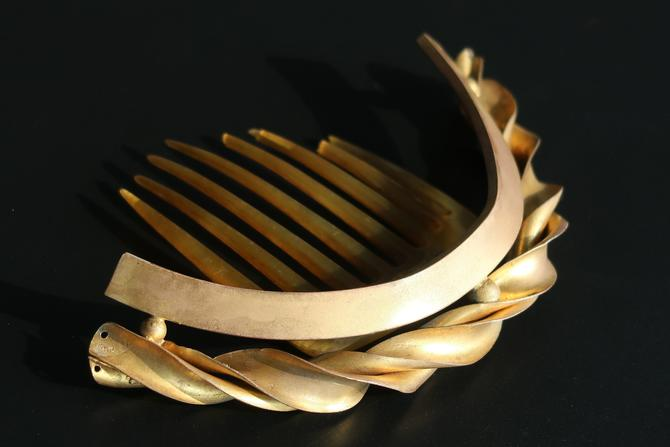 Victorian Gilt Brass Ribbon Twist Hinged Tiara Comb, Antique Hair Comb, Hair Jewelry, Bridal Comb by CombAgain