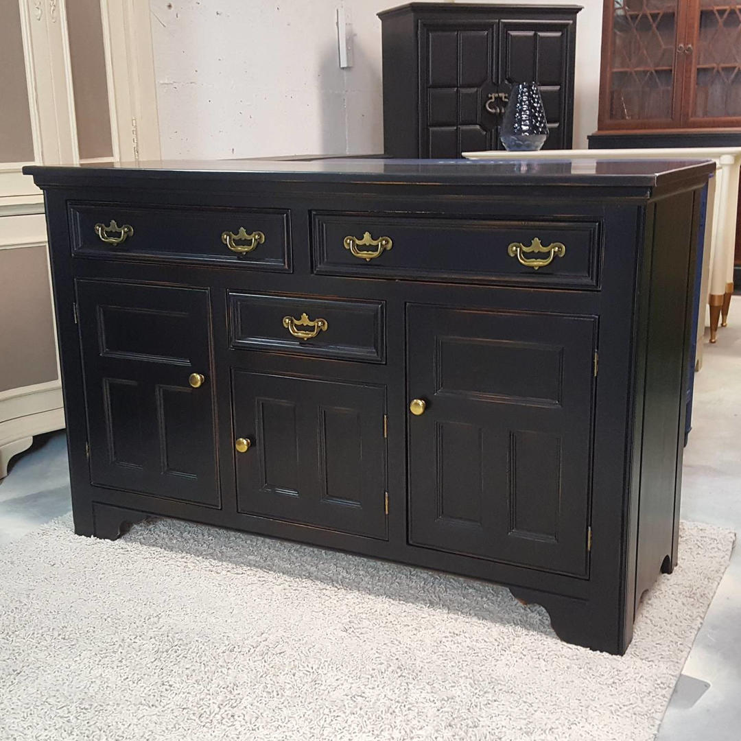 Black Buffet Table Sideboard Credenza Hand Painted