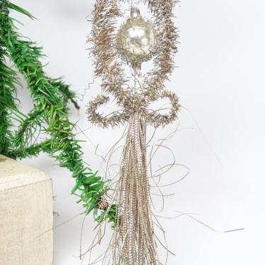 Large 6 1/2 Inch Early 1900's Victorian Tinsel and Wire Wrapped Mercury Glass Ball Christmas Ornament, Antique Decor by exploremag