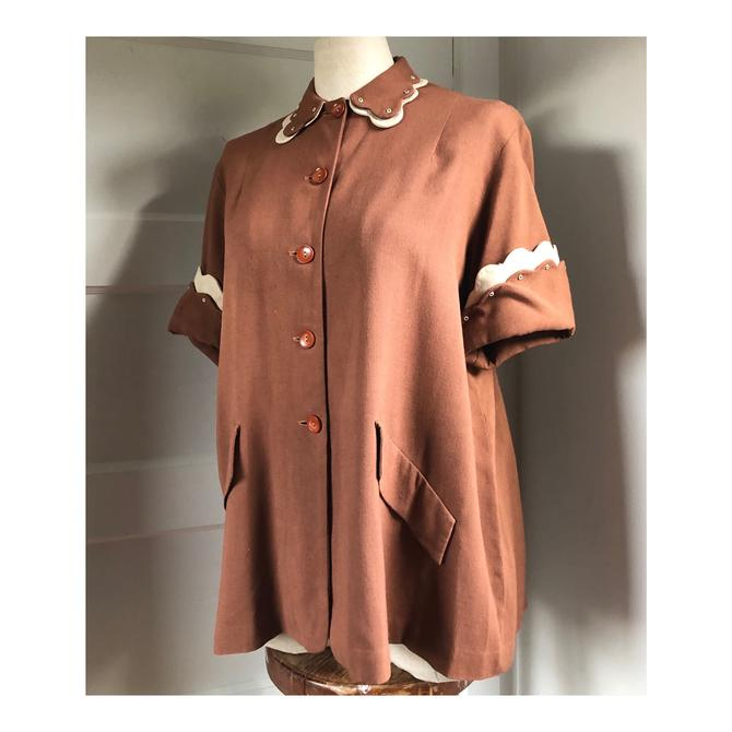 1940s / 1950s Swing Style Brown Linen Button Up with Scalloped Collar and Sleeve Detail by Chas L. Lewis Hollywood- size med/large by VeeVintageShop