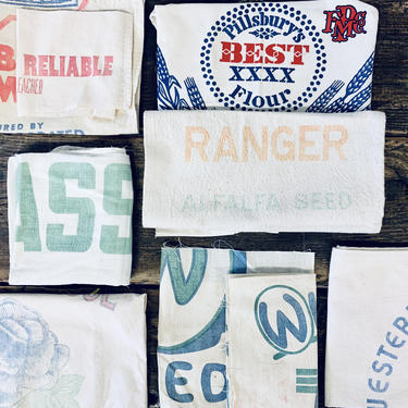 Lot of Floursack Fabric | Vintage Fabric Scraps | Lot of Feedsack | Flour Sack | Feed Sack | Bamk Deposit Bag | Canvas | Grain Sack Graphic by PiccadillyPrairie