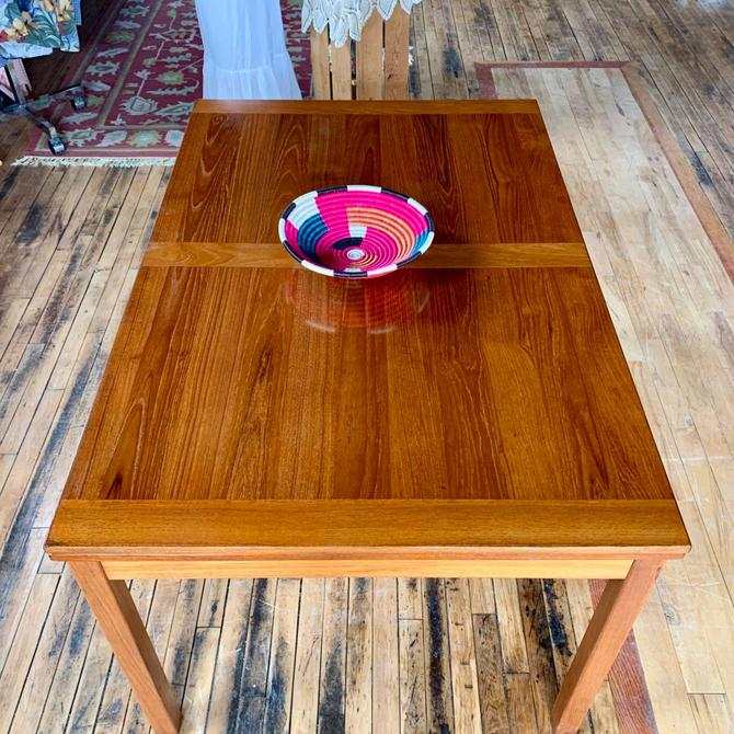Refinished Teak Dining Table w/ Two Self Storing Leaves