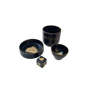 Japanese Drinking Game, Maruni Black Lacquerware by FunkyRelic
