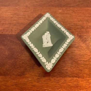 Vintage Wedgwood Jasperware Green Diamond Shape Ashtray Urania by OverTheYearsFinds
