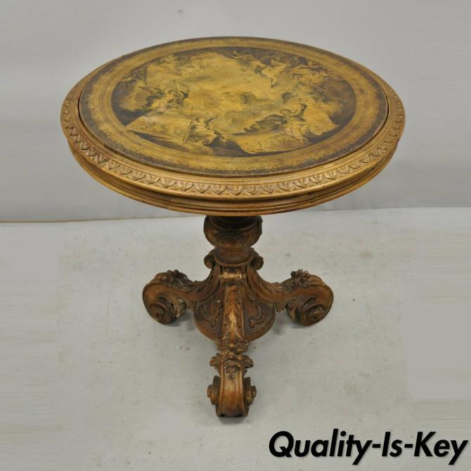 Antique Italian Renaissance Baroque Carved Wood Pedestal Base Center Table