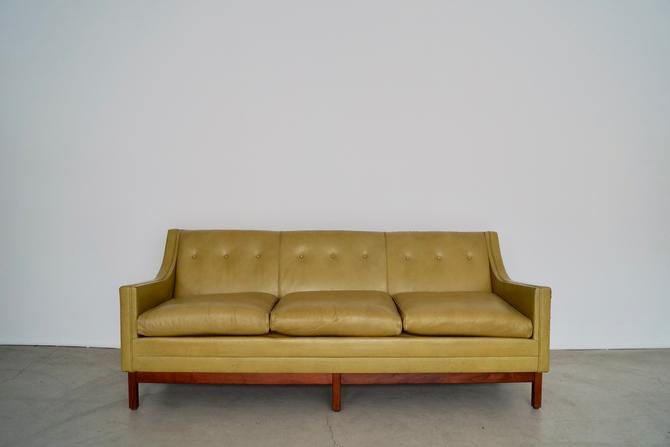 Gorgeous 1950's Mid-century Modern Sofa in Original Green Leather! by CyclicFurniture