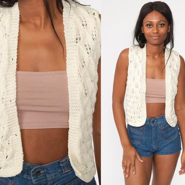 Crochet Vest Cream Knit Top 70s Hippie Boho Vest Open Weave Sheer 1970s Vintage Bohemian Sleeveless Sweater Extra Small xs by ShopExile