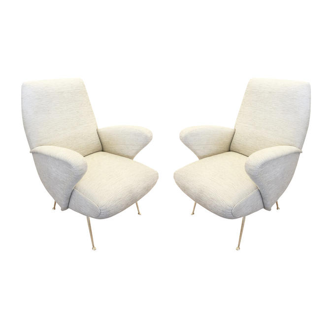 Pair of Italian Mid-Century Armchairs in the Manner of Zanuso
