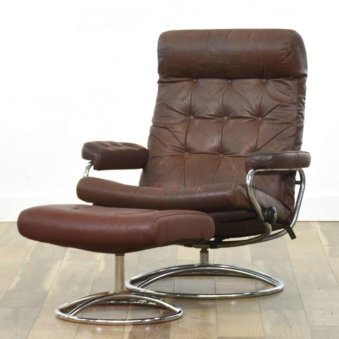 Modernist Maroon Leather & Chrome Recliner & Ottoman