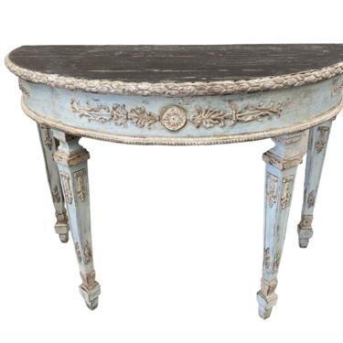 Italian Painted Demi Lune Console Table