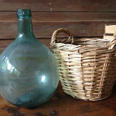 Spanish Wine Bottle Basket Viresa Glass Demijohn Original Wicker Basket Water Carafe by JansVintageStuff