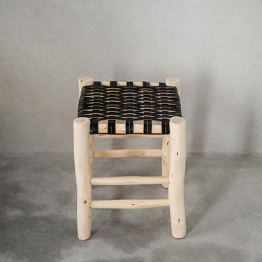 Black Moroccan Leather Stool by CangguHome