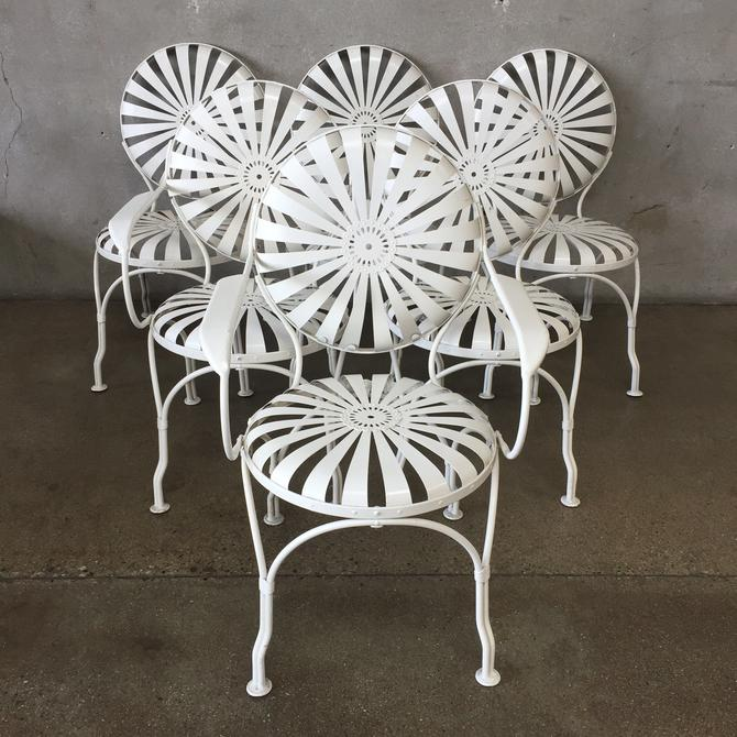 Six Francois Carre Vintage French Art Deco Iron Garden Chairs