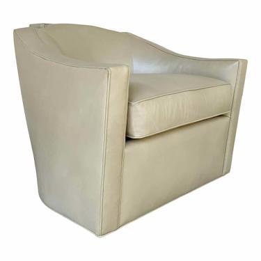 Theodore Alexander Modern Beige Leather Swivel Chair