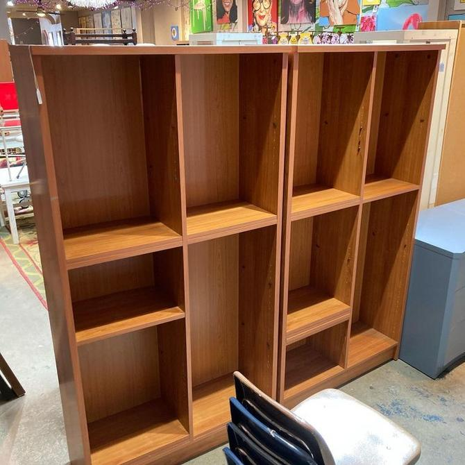 "Two large book/whatnot shelves. Made in Denmark. Shelves are adjustable. 37.5"" x 12.5"" x 71.5"" tall."