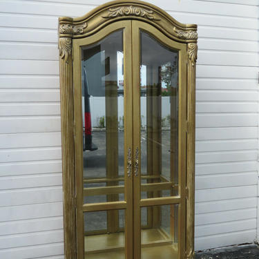 French Carved Distressed Gold Tall Large China Closet Display Cupboard 1614