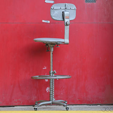 """all-adjustable grey vinyl ergonomic drafting stool """"Air-Flow"""" Posture Chair by Cramer by jeglova"""