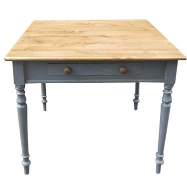 English Reclaimed Painted Table with Waxed Pine Top
