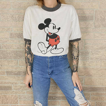 80's Mickey Mouse Vintage Ringer Tee T-Shirt by NoteworthyGarments