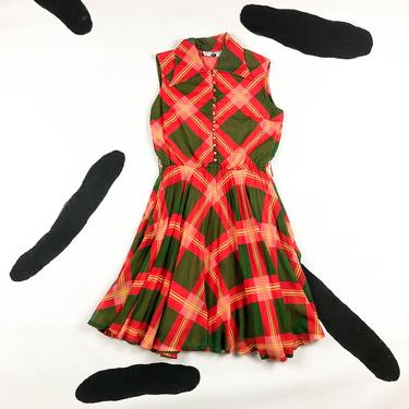 1960s Kenny Classics Red and Green Windowpane Plaid Fit and Flare Sleeveless Shirt Dress / 50s / 60s / Oversize Plaid / Medium / Pleated / by shoptrashdotnet