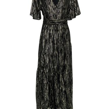 Ba&sh - Black & Gold Metallic Short Sleeve Gown Sz 4