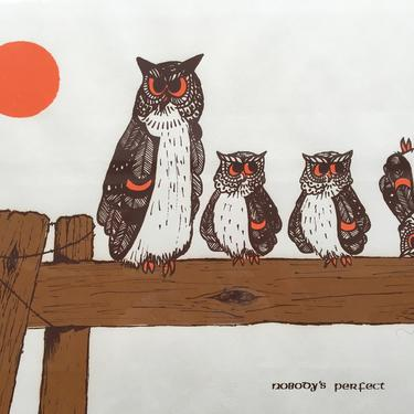 Mid Century Signed Owl Art, Nobody's Perfect By Joy Kohler, Owls On A Fence, Orange Moon, Whimsical, Words Of Affirmation by luckduck