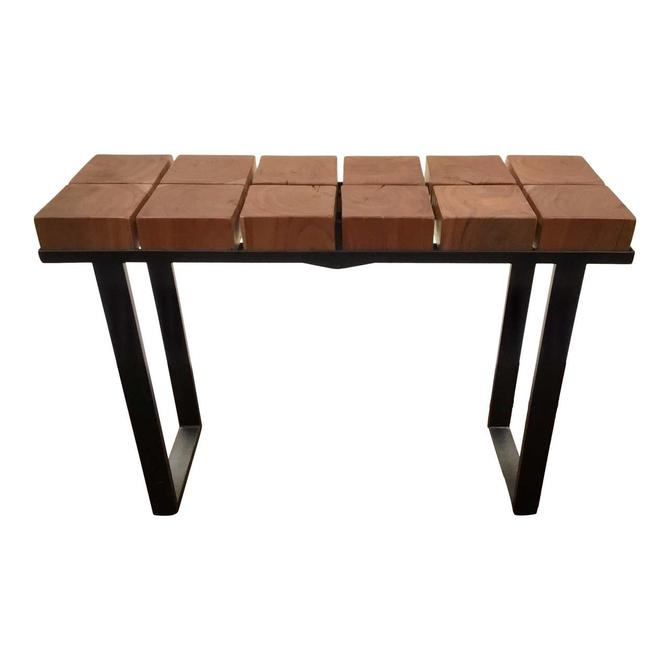 Brutalist Style Wood Block and Iron Console Table