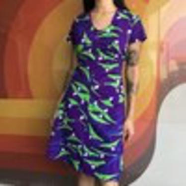 70's Rich Purple Polyester Graphic Dress by laloupevintage
