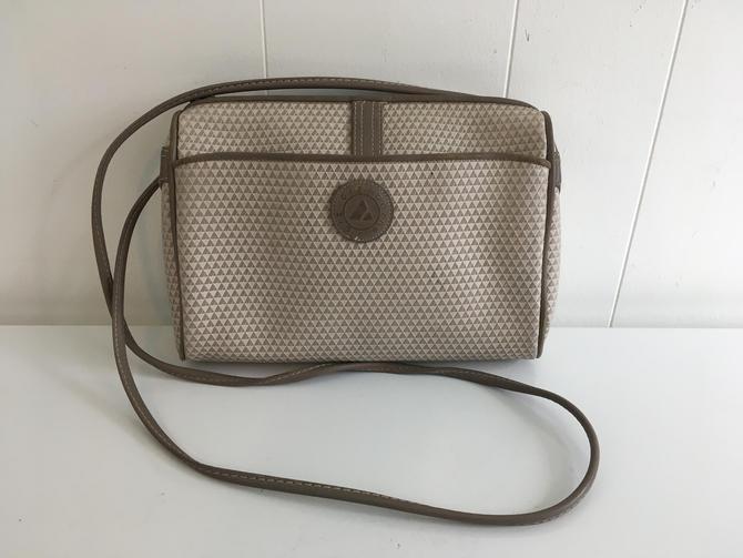 Vintage Liz Claiborne Crossbody Purse 1983 Genuine Leather Trim Bag Adjustable Strap Structured Handbag Gray Tan Made in Korea 1980s by CheckEngineVintage