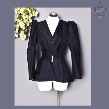 30's Black Silk Jacket Blouse, Designer Nora Martin, 1940's Fitted Vintage Peplum Shirt Top Blouse Blazer Suit Jacket, 1930's, 1950's by Boutique369